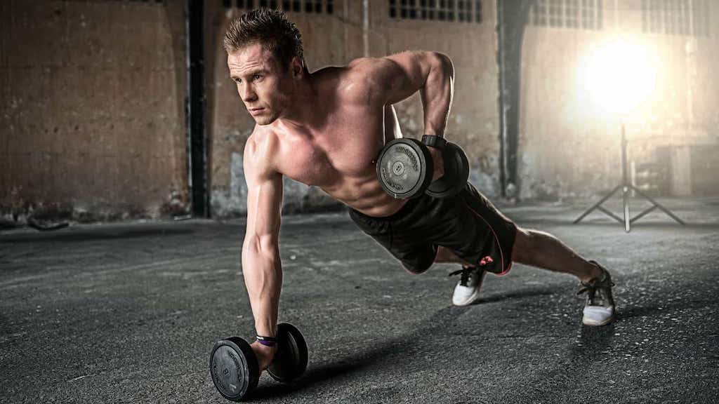 man with self-discipline working out