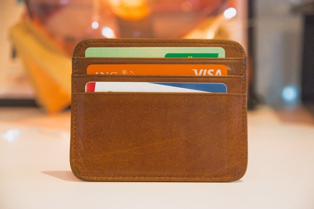 wallet with credit cards used carefully to save 100 min